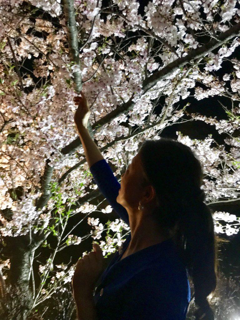 小顔美整体セラピスト智子と夜桜